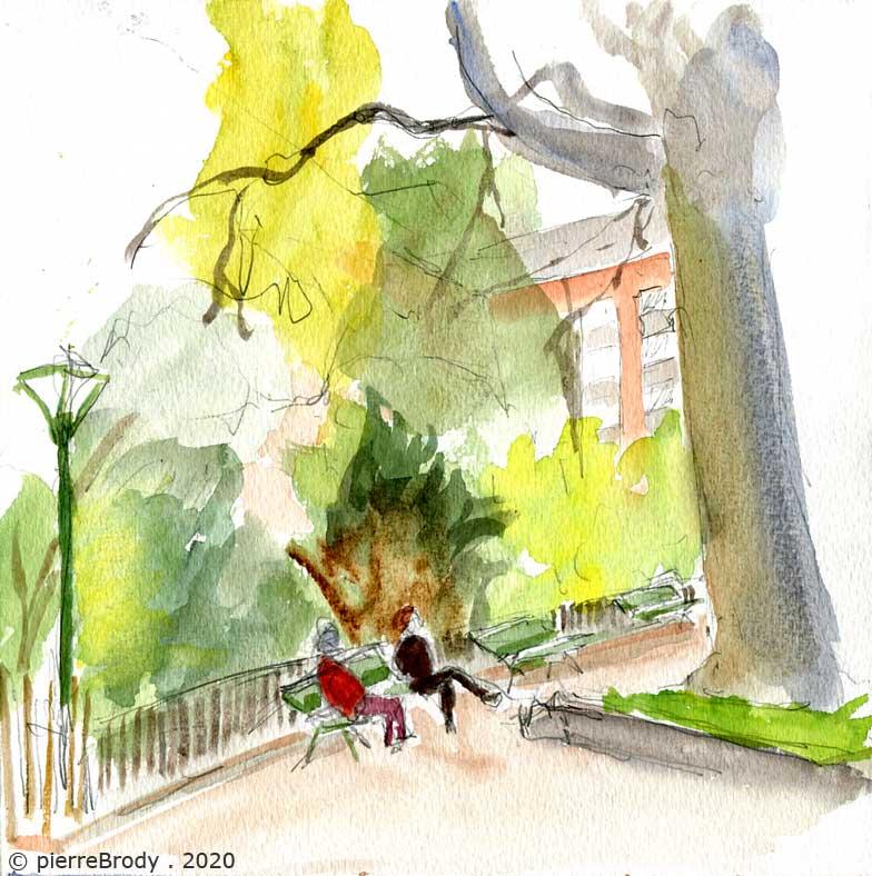 Deux voisines assises sur un banc